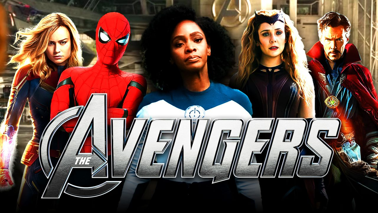Teyonah Parris as Monica Rambeau, Avengers logo, Spider-Man, Captain Marvel, Scarlet Witch