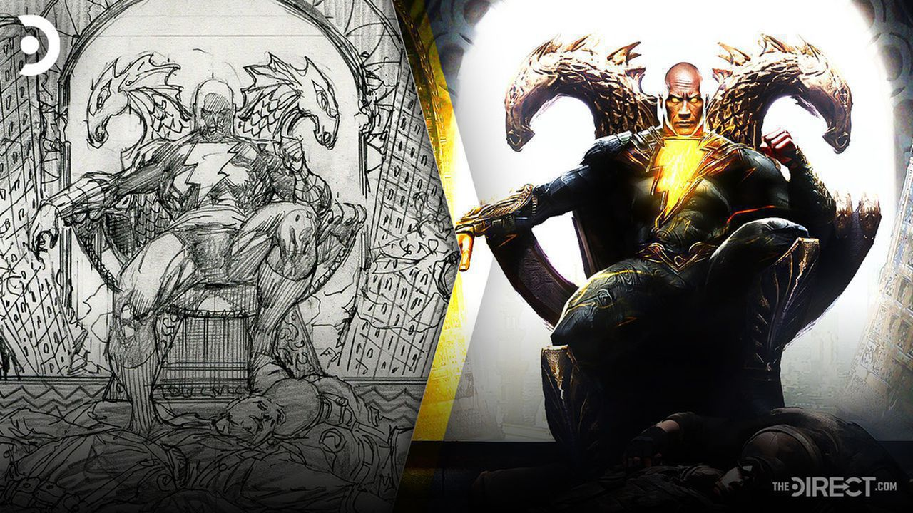 The Rock as Black Adam sitting on throne