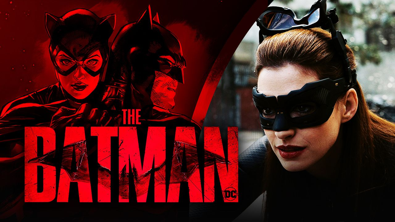 Catwoman and Batman from the comics, The Batman logo, Anne Hathaway as Catwoman