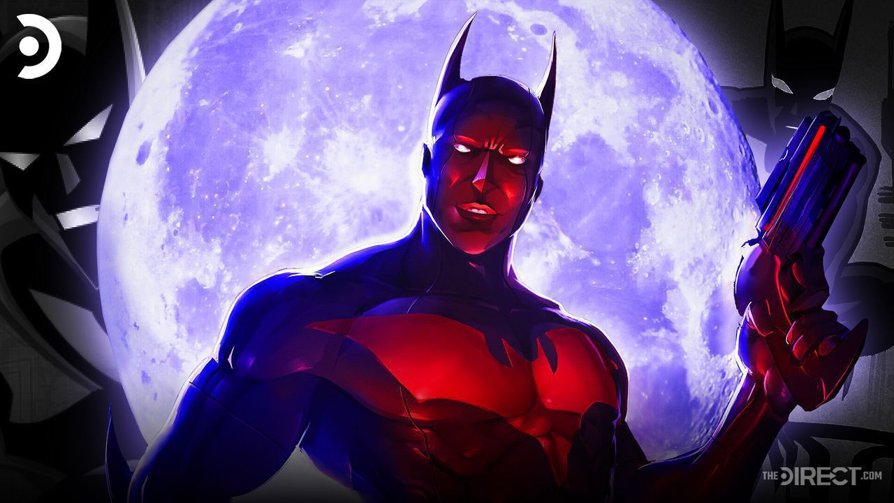 Batman Beyond comic book version in front of a moon and two animated Batman Beyond iterations.