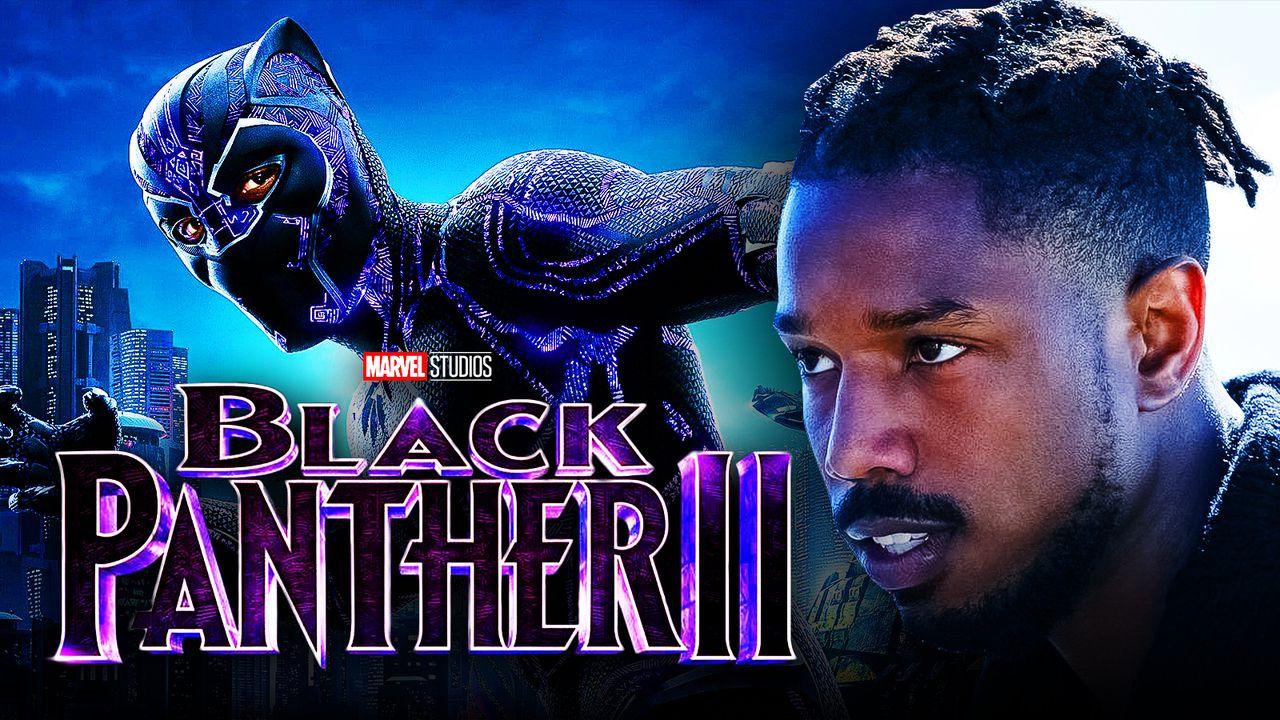 Michael B. Jordan as Killmonger, Black Panther, Black Panther 2 logo