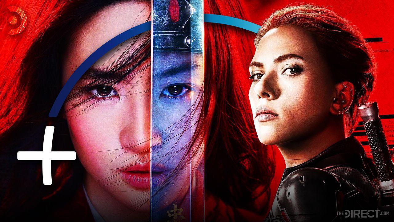 Mulan and Black Widow with Disney+ Symbol