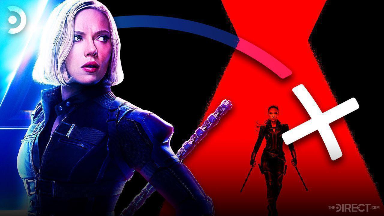 Black Widow promo image, Disney+ logo