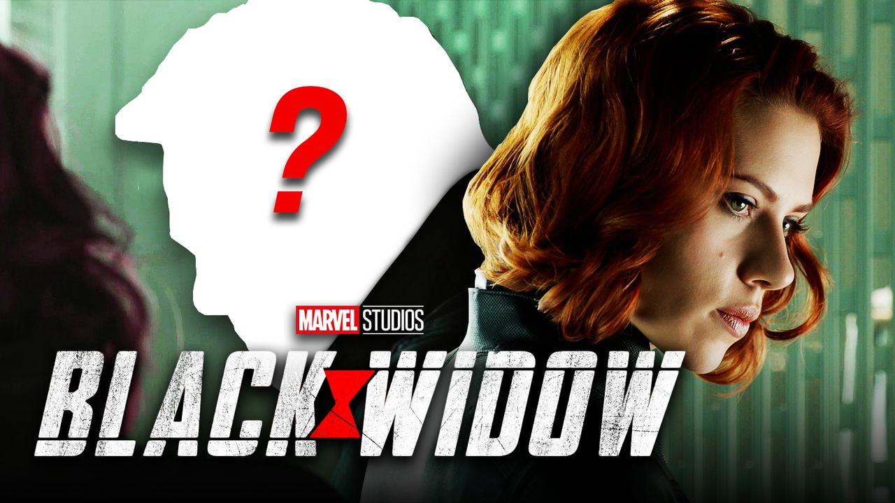 Black Widow logo, Scarlett Johansson as Natasha Romanoff
