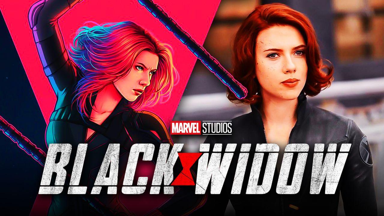 Black Widow artwork by Jen Bartel, Black Widow logo, Scarlett Johansson as Black Widow
