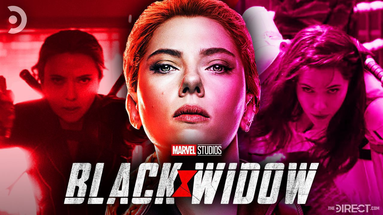 Black Widow Stills on left and right, Black Widow poster