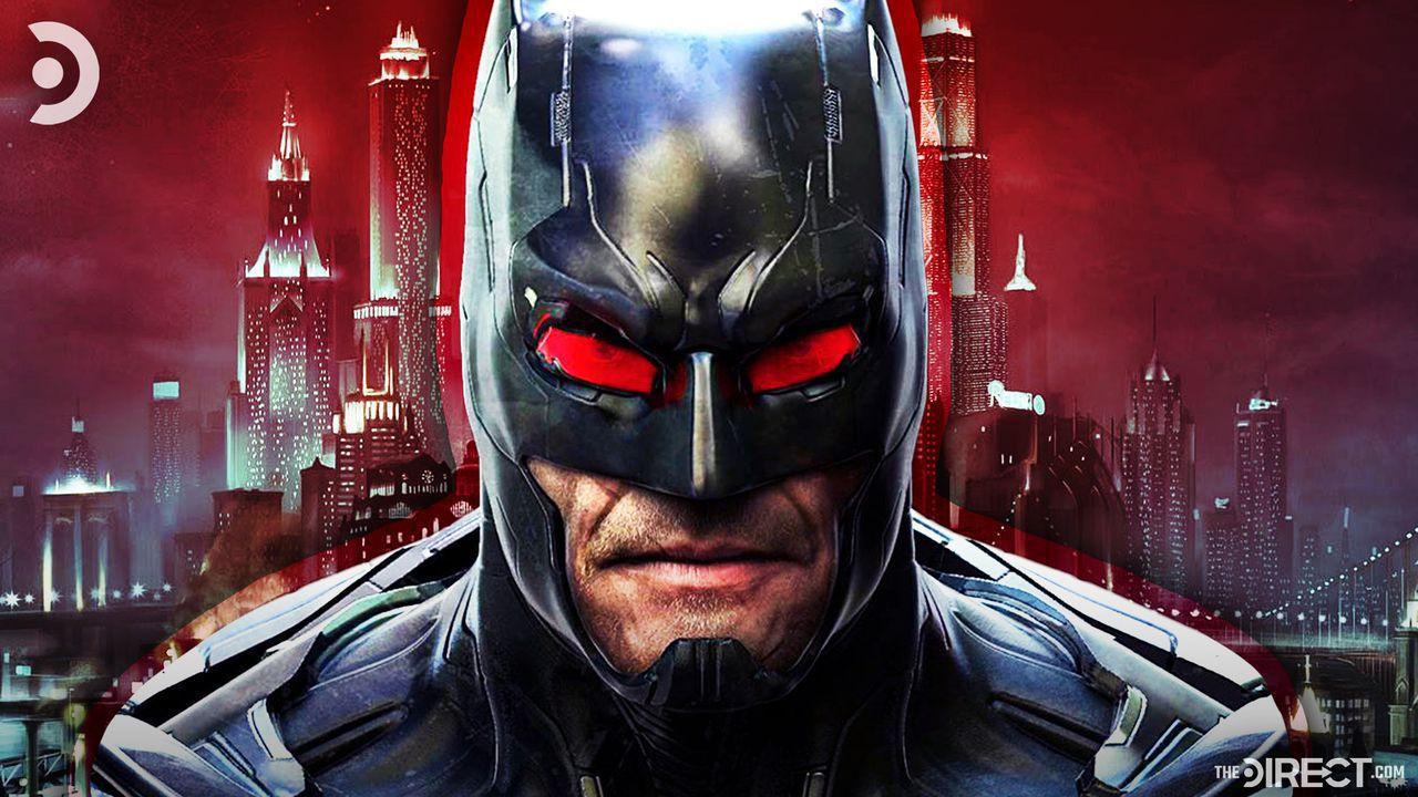 Close up of unused Batman design, Gotham City in background