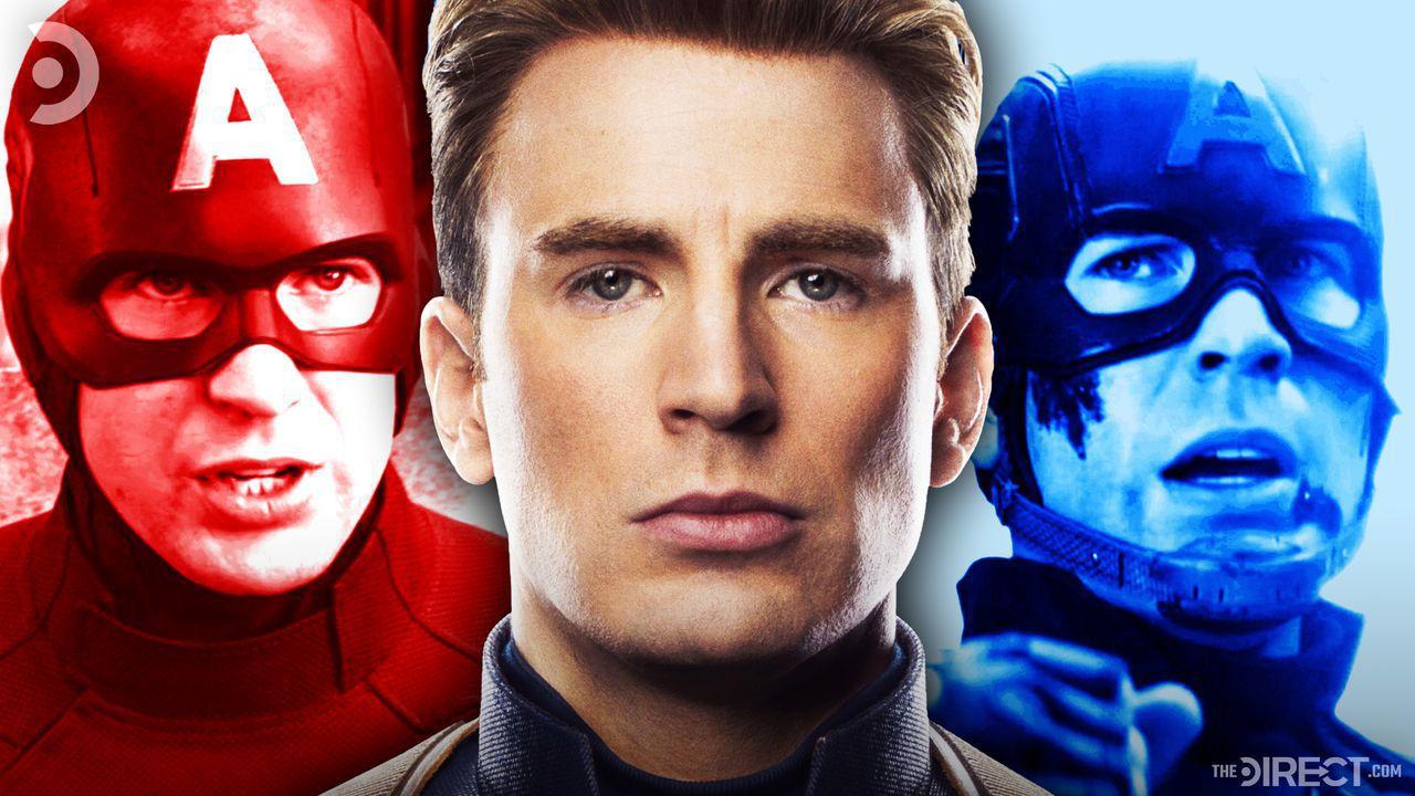 red Captain America, Steve Rogers' face, blue Captain America