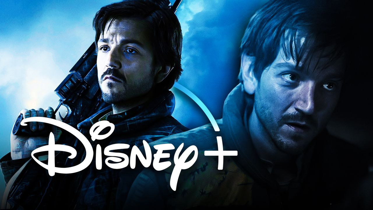 Cassian Andor holding gun on left and Diego Luna on right with Disney+ logo in foreground