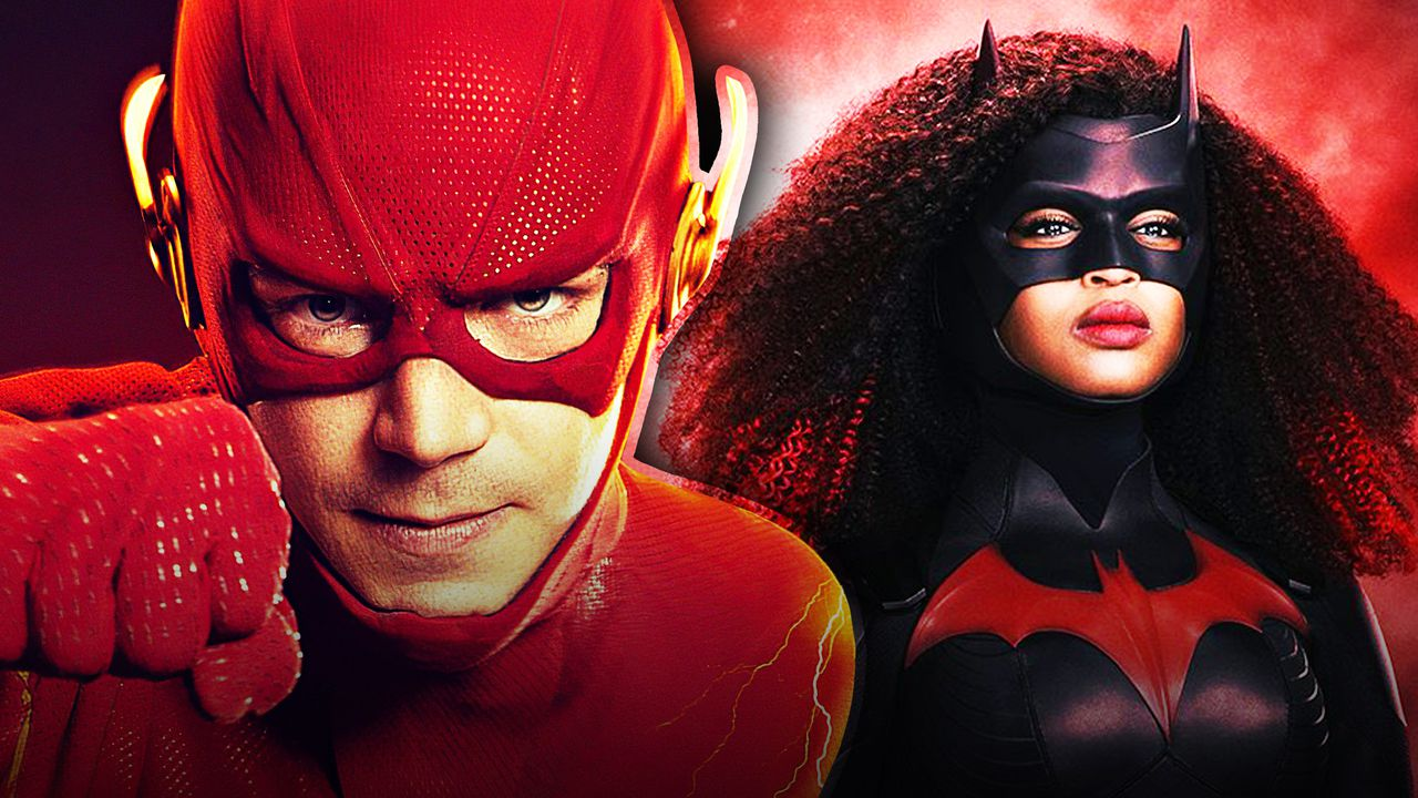 The Flash on the left with Batwoman on the right