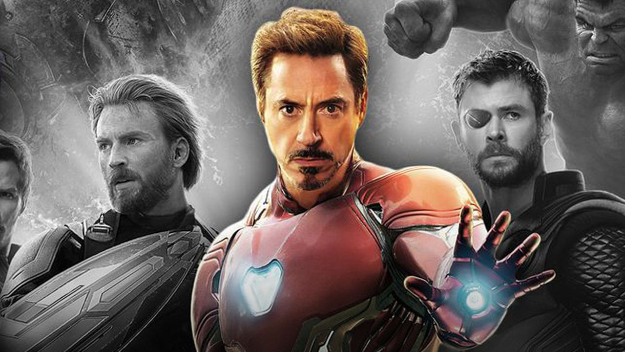 Tony Stark with Avengers from Infinity War poster