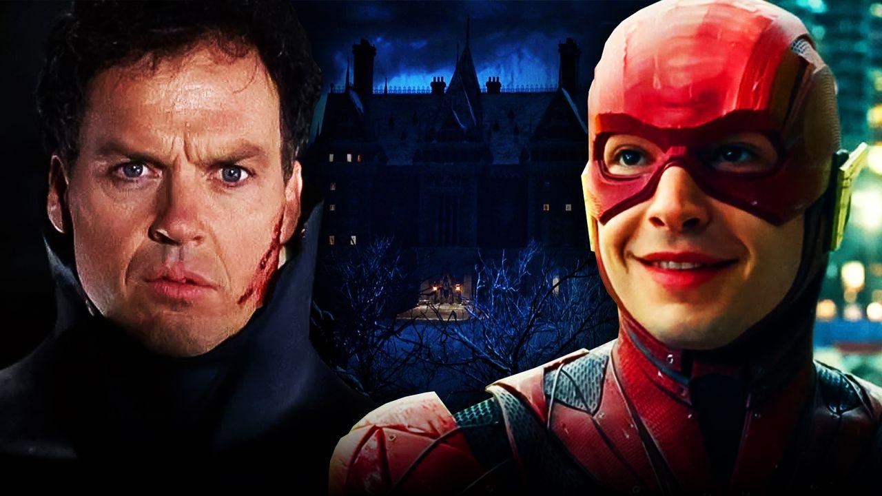 Ezra Miller as The Flash, Michael Keaton as Bruce Wayne