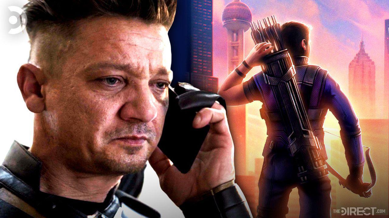 Hawkeye on the phone, Clint Barton with bow and arrow