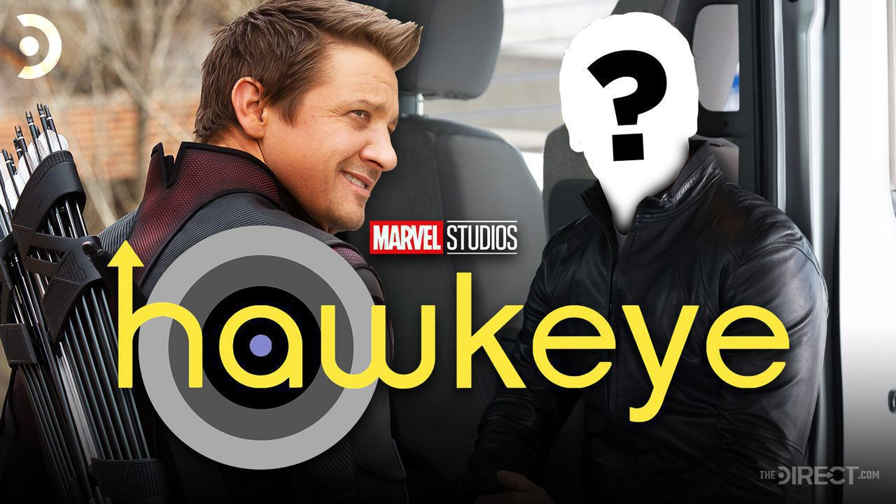 Jeremy Renner as Hawkeye, Hawkeye logo, and person with Question Mark on face