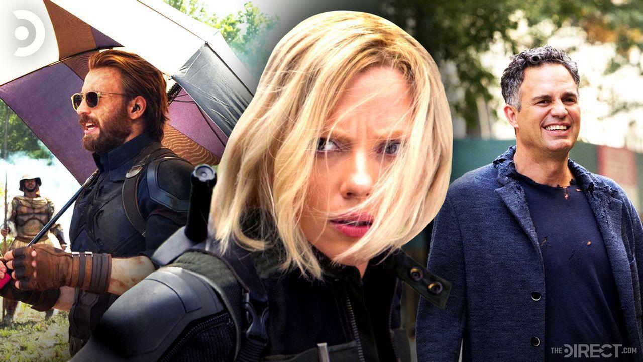 Chris Evans as Captain America with umbrella, Black Widow, Mark Ruffalo