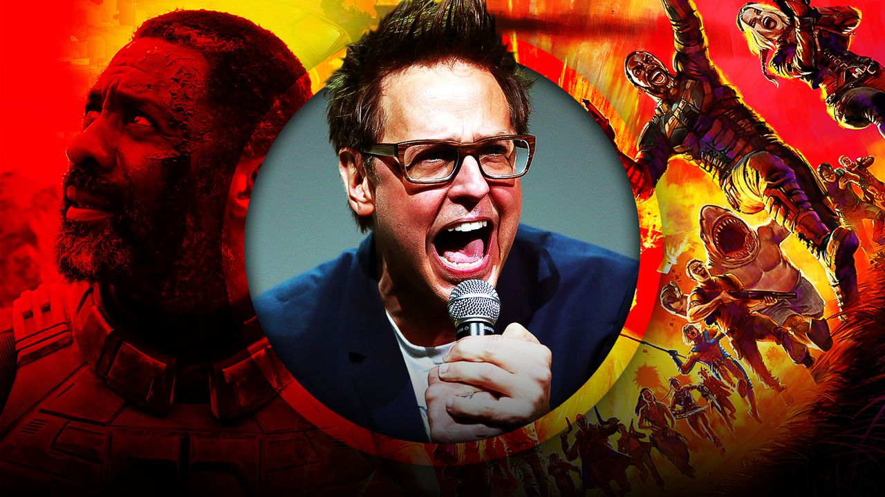 James Gunn at the center with Suicide Squad characters in background