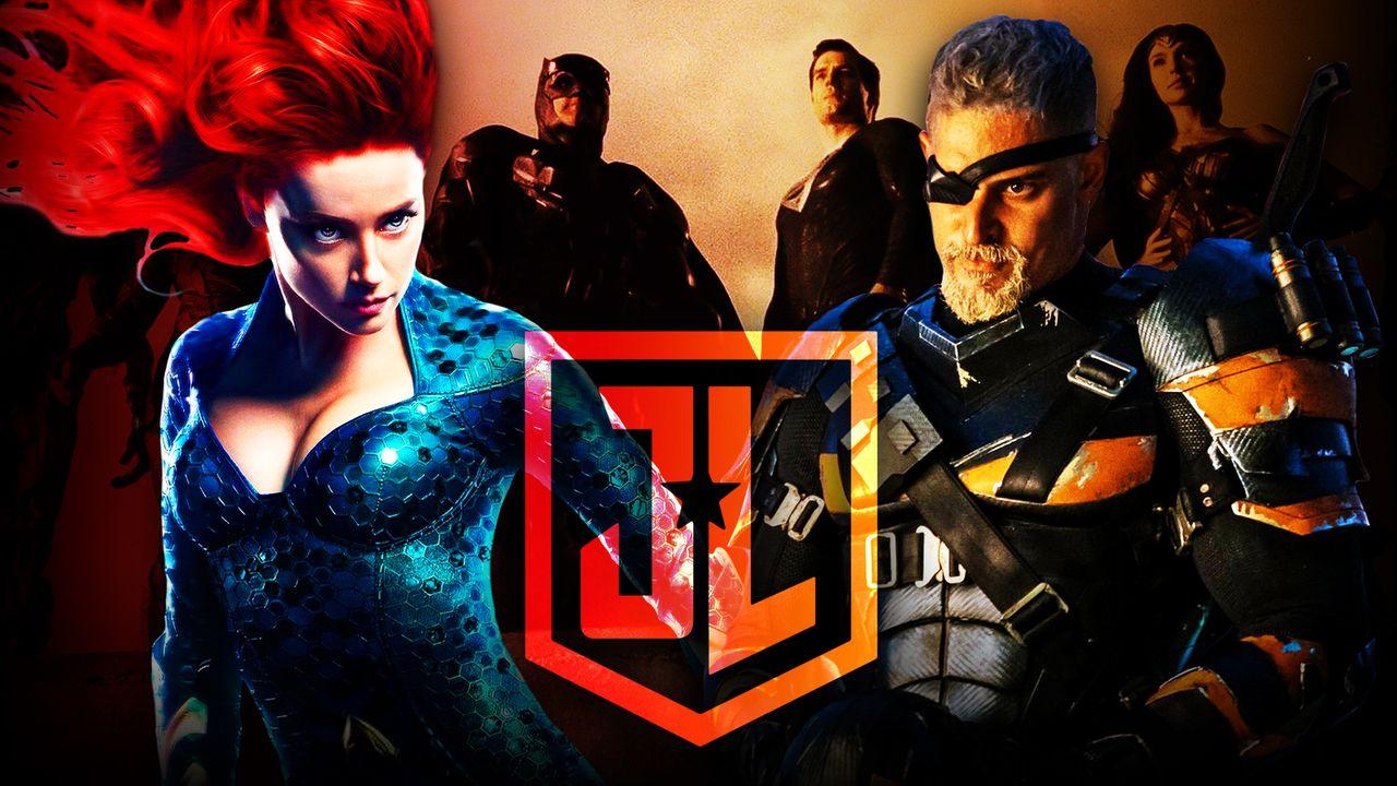 Zack Snyder's Justice League logo, Amber Heard as Mera, Joe Manganiello as Deathstroke