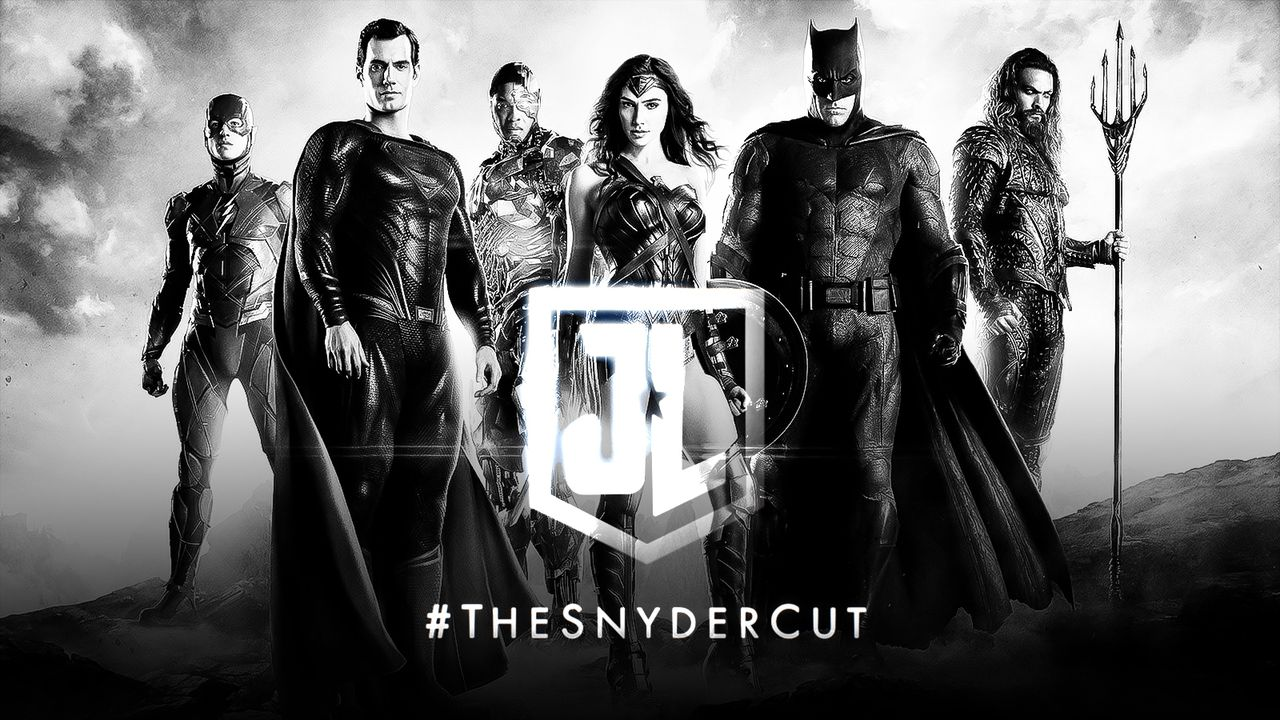 Justice League in black and white with #TheSnyderCut in foreground