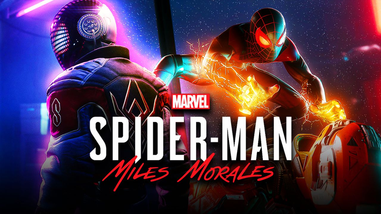 Spider-Man 2020 suit on left, Miles Morales classic suit on right, Miles Morales game logo center