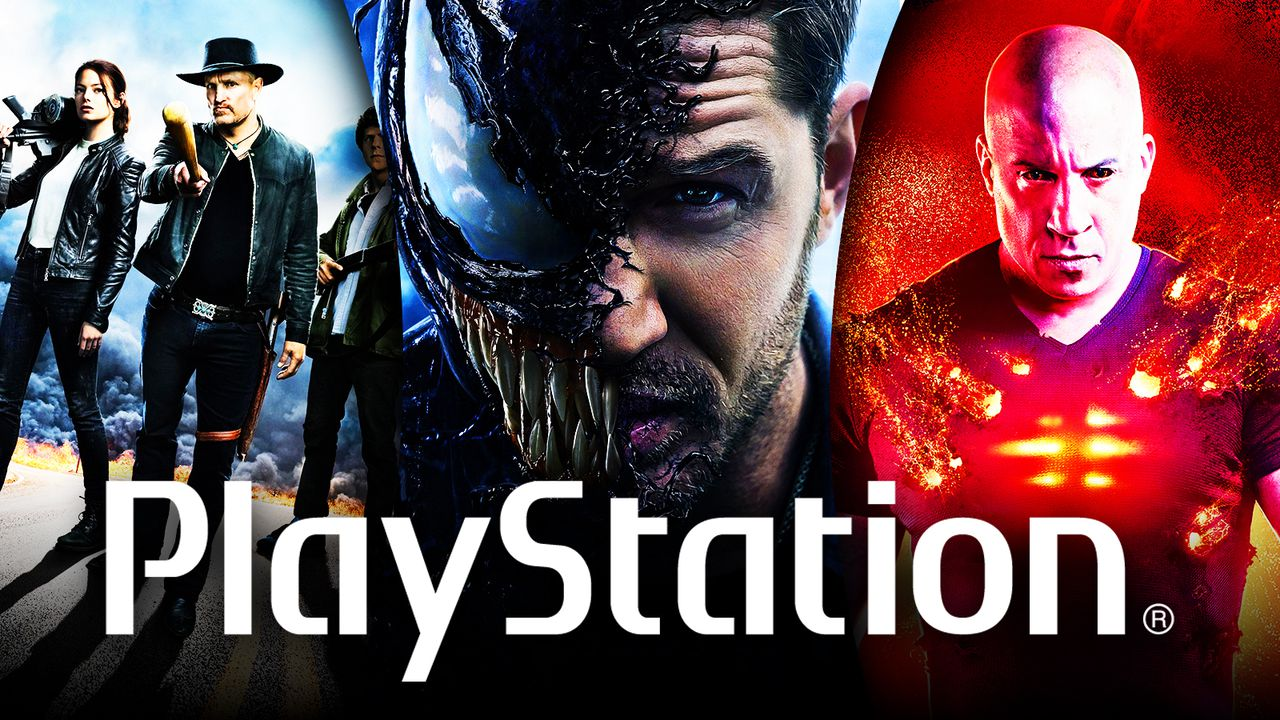 PlayStation logo over Sony films