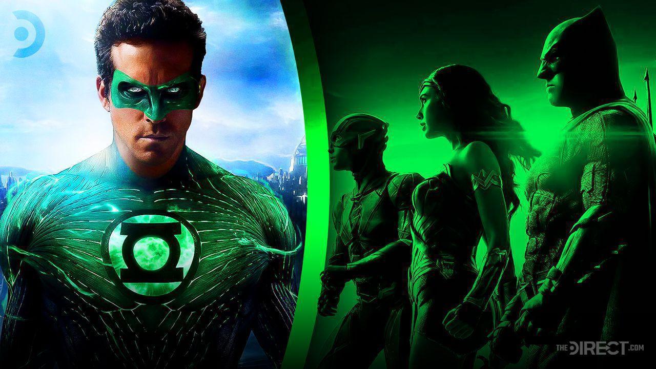 Ryan Reynolds as Green Lantern, Ezra Miller as The Flash, Gal Gadot's Wonder Woman, Affleck's Batman
