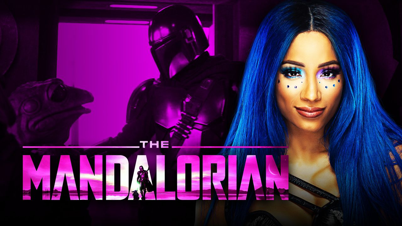 The Mandalorian logo, Sasha Banks, Mando and Frog Lady