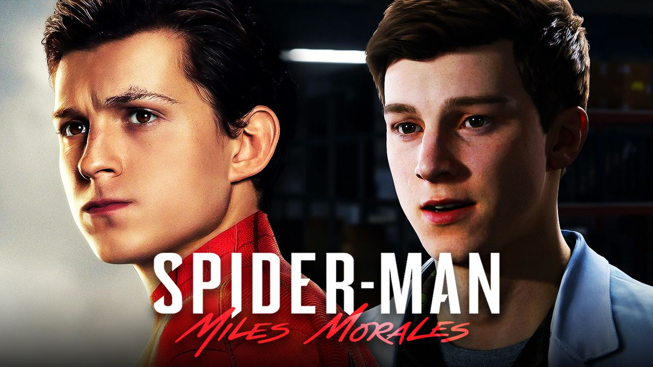 Tom Holland as Spider-Man, Spider-Man: Miles Morales logo, Peter Parker from Spider-Man Remastered