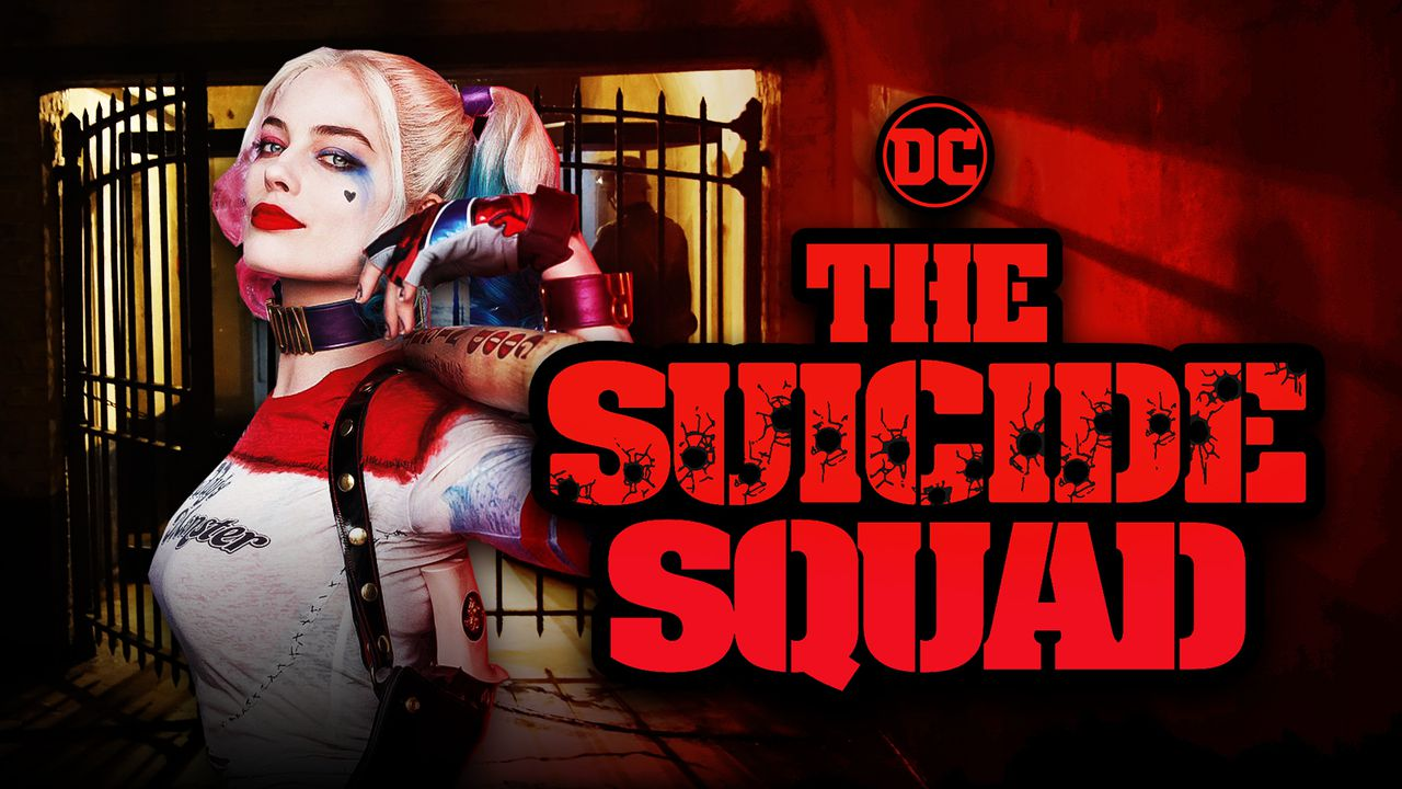 The Suicide Squad logo, Margot Robbie as Harley Quinn, Jail bars
