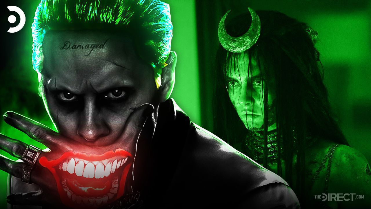 Jared Leto's Joker covering his mouth with Enchantress behind him