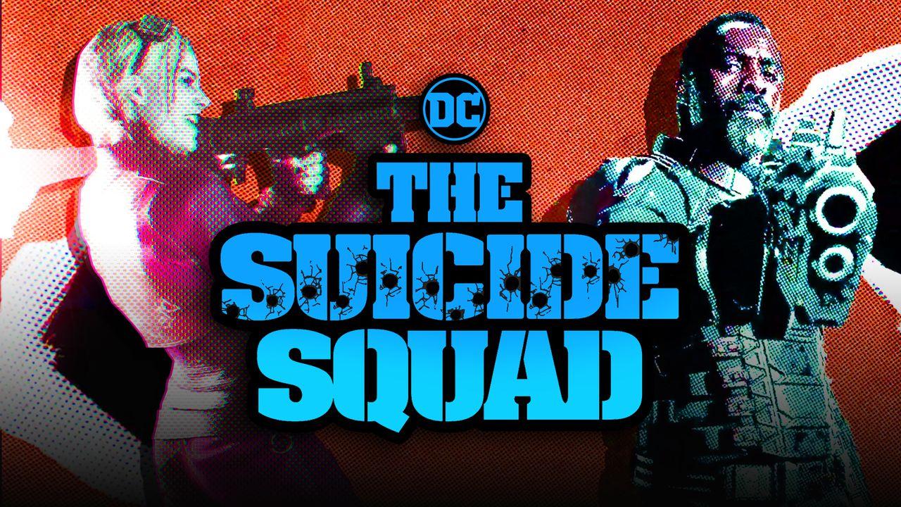 Margot Robbie as Harley Quinn, The Suicide Squad logo, Idris Elba as Bloodsport