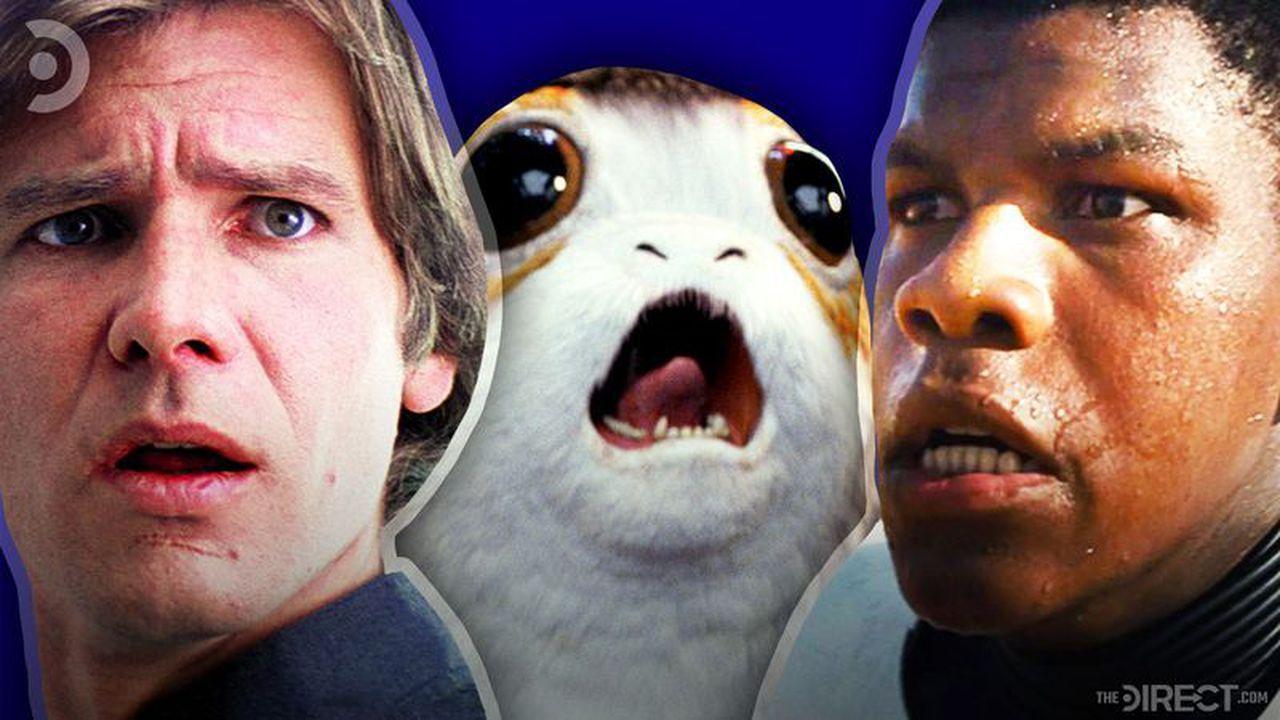 Han Solo, Porg, and Finn