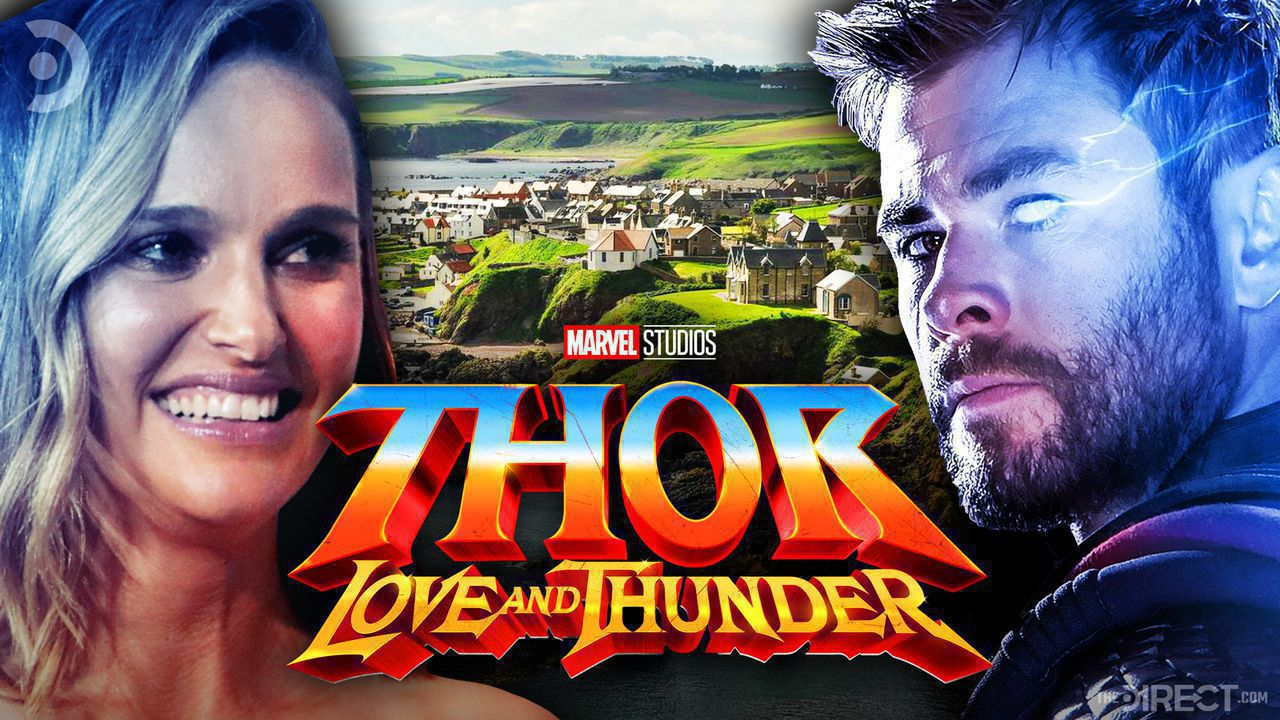 Natalie Portman on left, Chris Hemsworth on right, Thor: Love and Thunder logo in middle