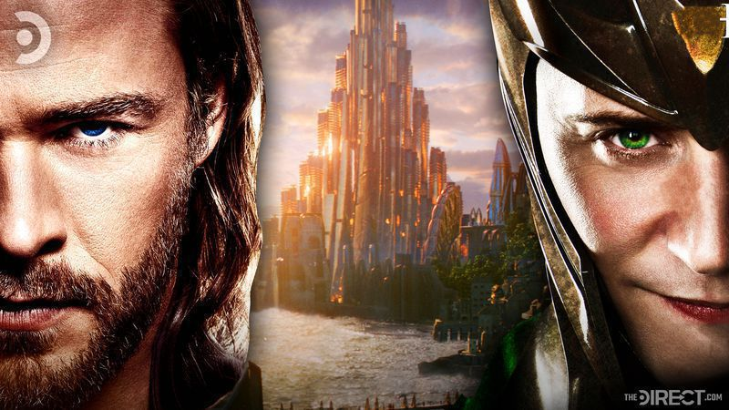 Thor's face on the left, Loki's face on the right, and an overlook of Asgard's royal castle