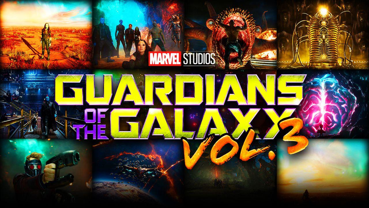 Guardians of the Galaxy Vol 3 logo, scenes
