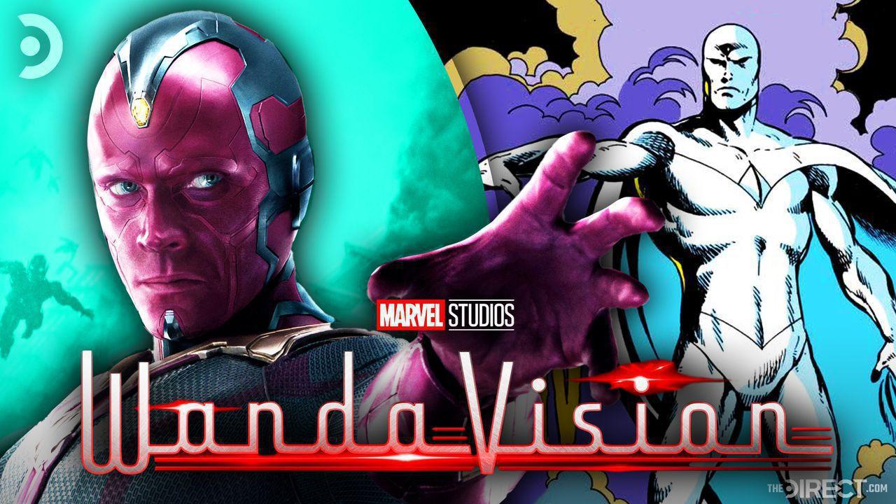 Vision and White Vision with WandaVision logo