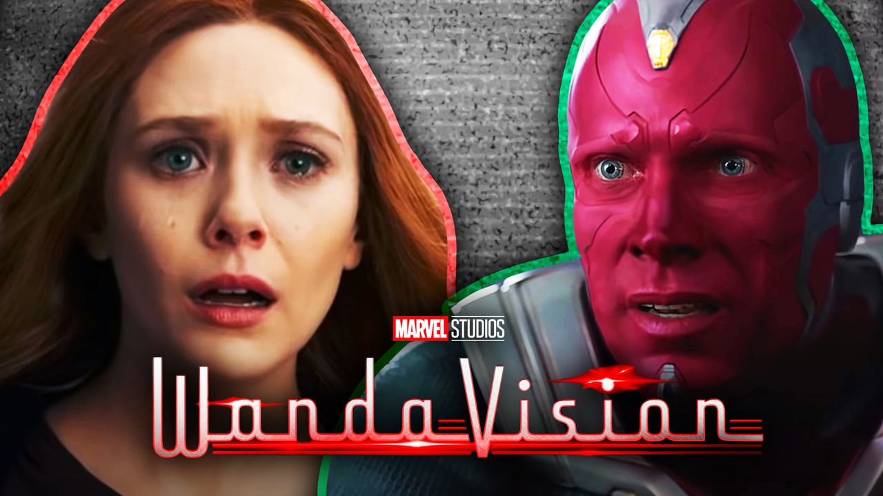 Wanda on left, Vision on right, WandaVision title across bottom