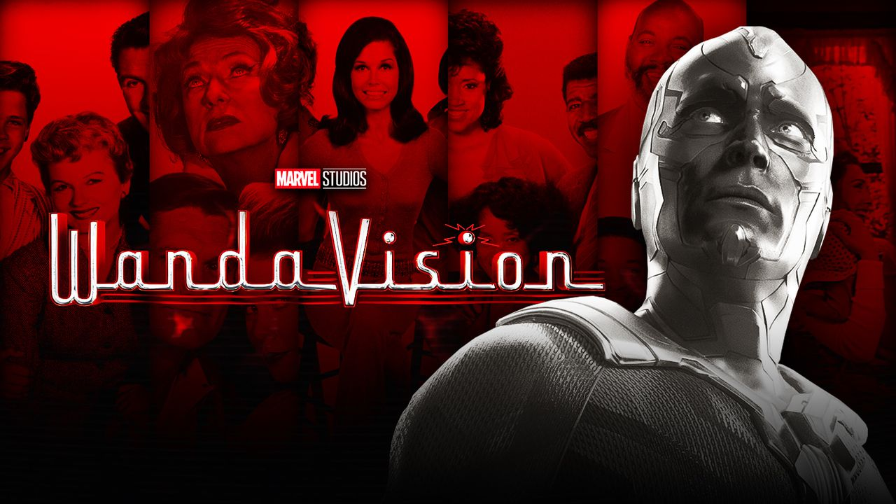 Paul Bettany as Vision, WandaVision logo, several TV sitcoms