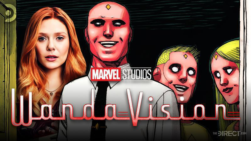 Elizabeth Olsen, Comic Panel showing Vision and Two Android Kids