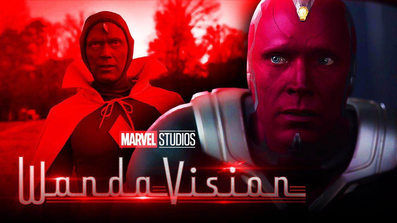Vision, WandaVision logo, closeup of Paul Bettany as Vision