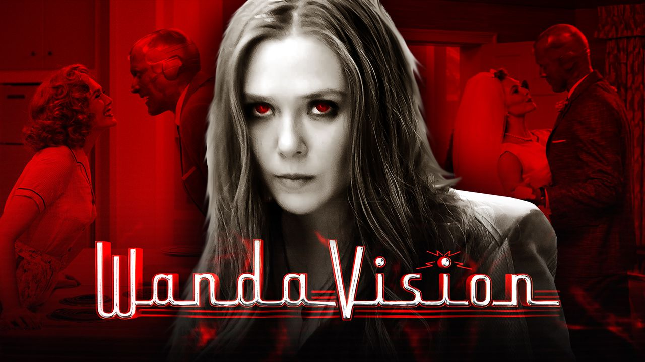 WandaVision logo, Elizabeth Olsen as Wanda Maximoff, Paul Bettany as Vision