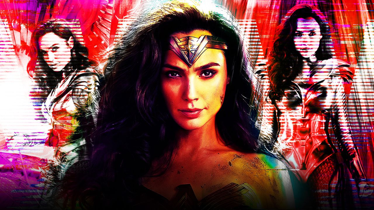 Three variations of Wonder Woman in classic costume and golden armor