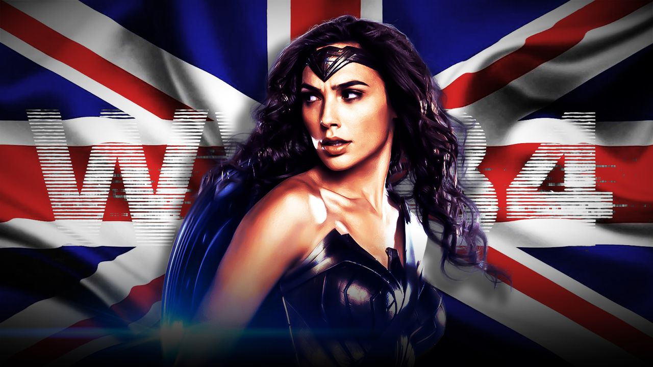 Gal Gadot as Wonder Woman, UK flag