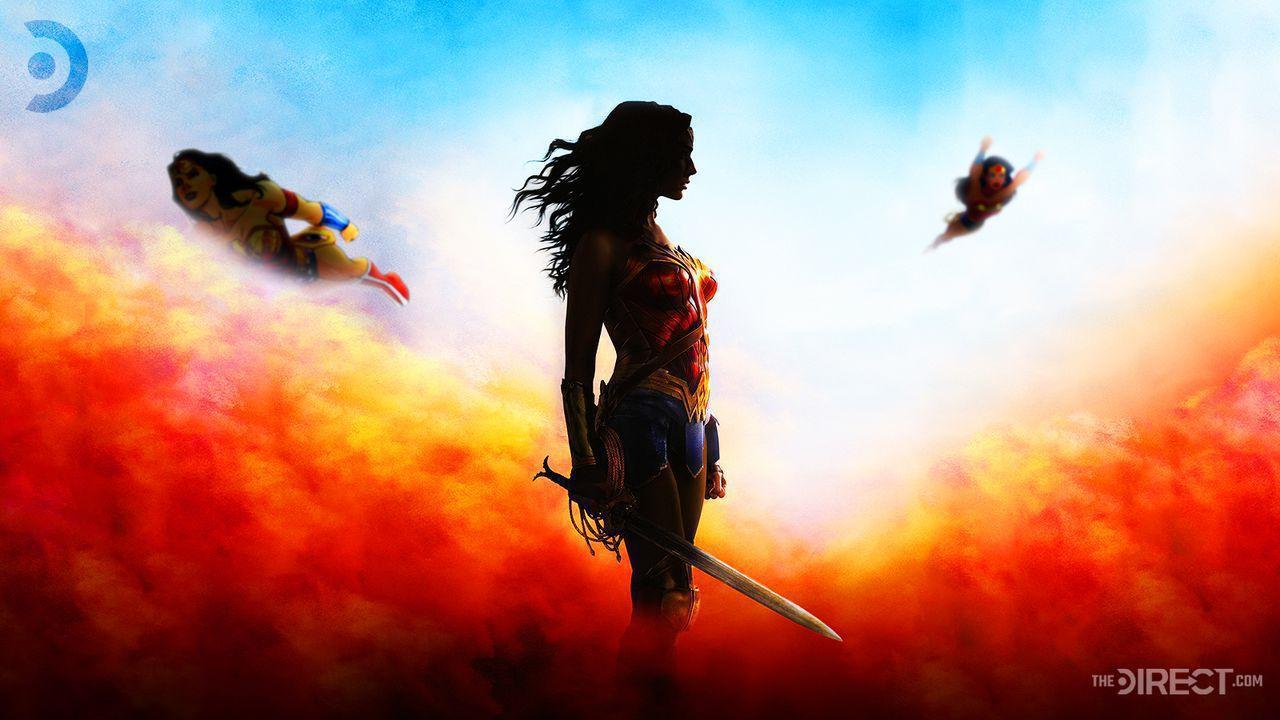 Cartoon Wonder Woman Flying, Gal Gadot as Wonder Woman, Cartoon Wonder Woman Flying