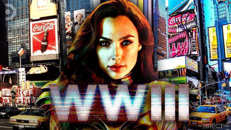 Gal Gadot as Wonder Woman, Wonder Woman 3 logo, busy streets of the city