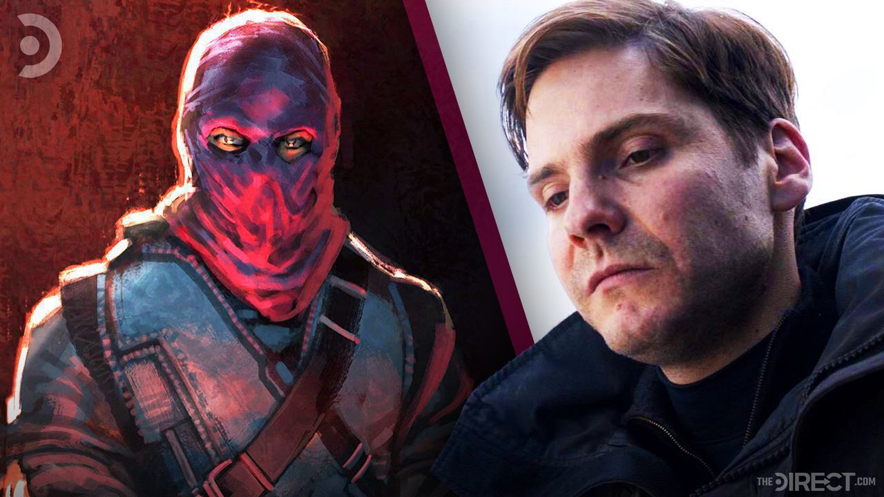 Zemo concept art wearing purple cowl on left and Zemo in Civil War on right