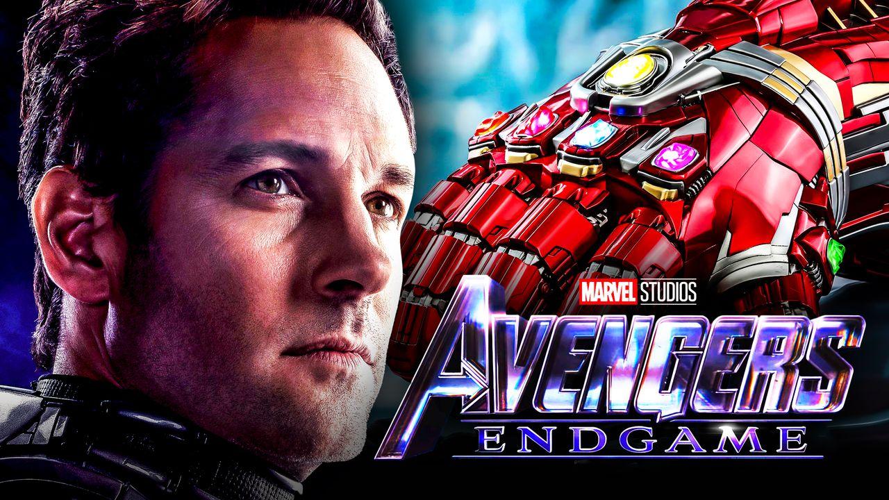 Paul Rudd Avengers Endgame logo Iron Man Gauntlet