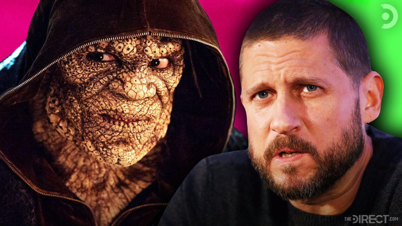 Killer Croc next to director David Ayer
