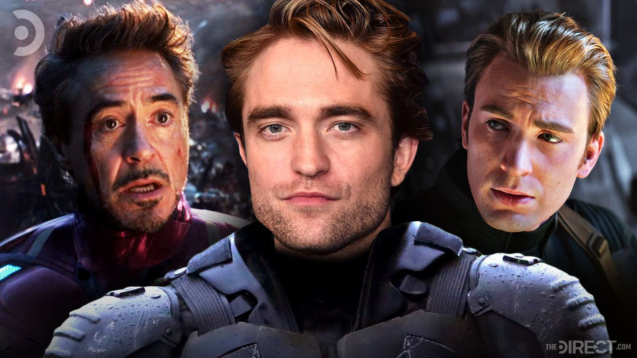 Downey Jr as Tony Stark on left, Pattinson in batsuit at center, Chris Evans as Capt. America right