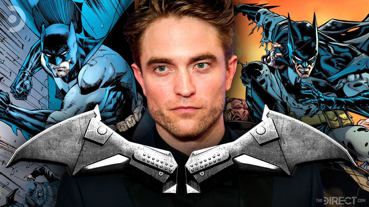 Robert Pattinson in front of The Batman chest emblem, and comic-book versions of Batman.