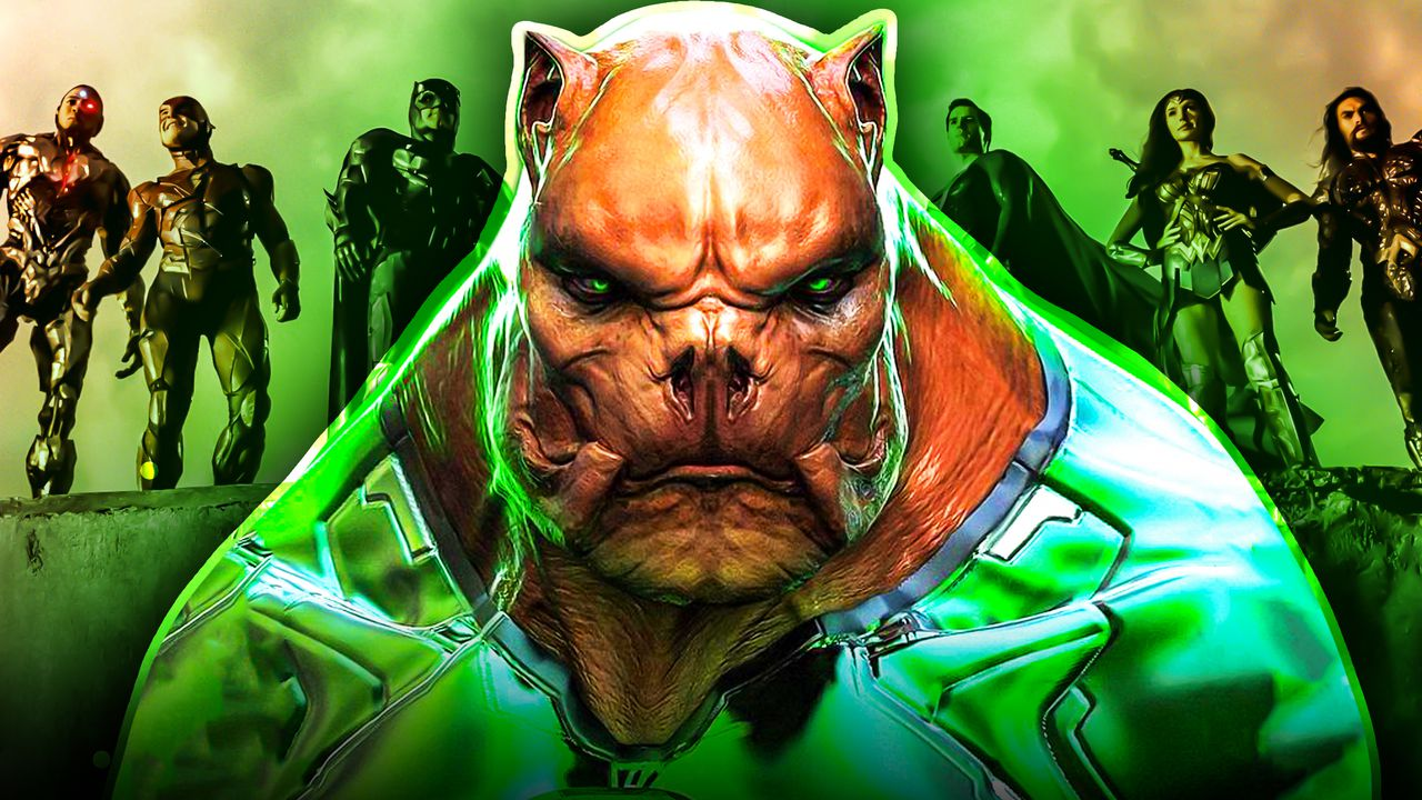Green Lantern Kilowog with the Justice League in the Background